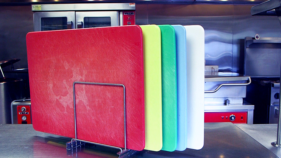color-coded cutting boards help prevent food contamination